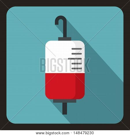 Package for blood transfusion icon in flat style with long shadow. Treatment symbol vector illustration