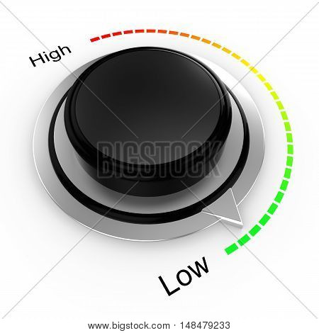 3D illustration of a rotary knob isolated on white with a high to low scale from red to green