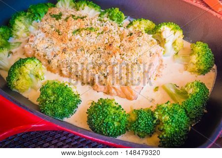 Pan Fried Almond Crusted Salmon With Almond Sauce,