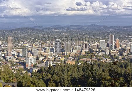 Portland Oregon with surroundings from Pittock Mansion.