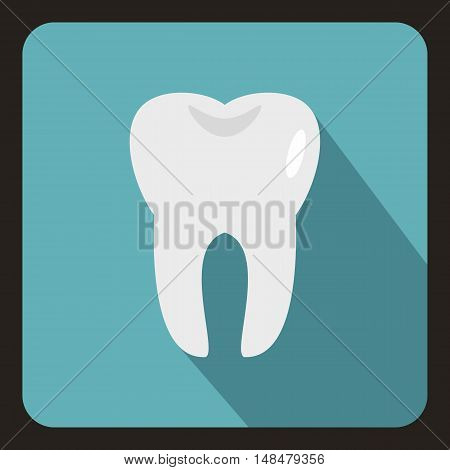 Tooth icon in flat style with long shadow. Dentistry symbol vector illustration