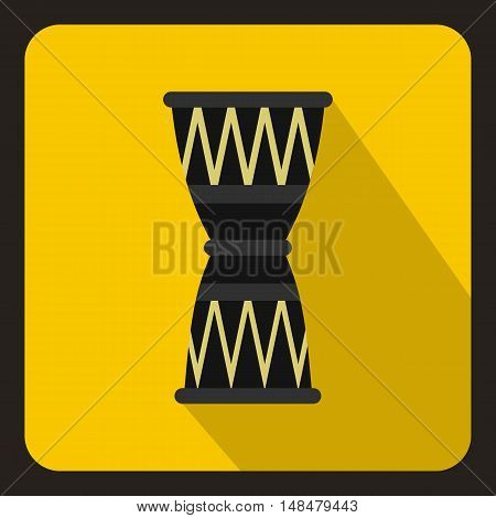 African drum icon in flat style with long shadow. Musical instrument symbol vector illustration