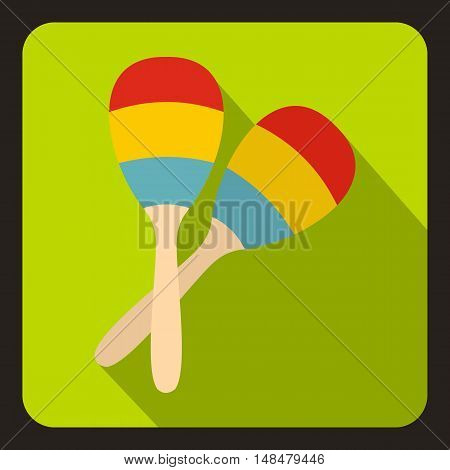 Maracas icon in flat style with long shadow. Musical instrument symbol vector illustration