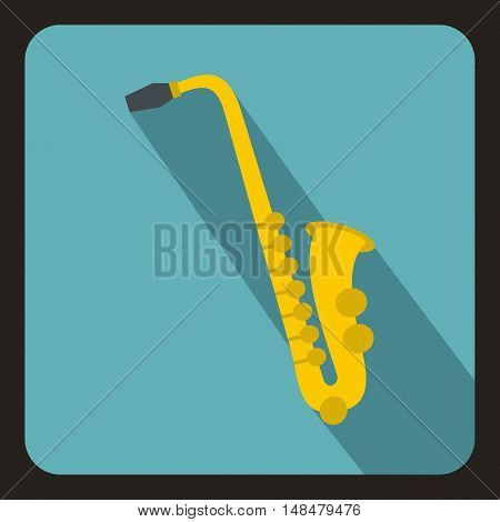Saxophone icon in flat style with long shadow. Musical instrument symbol vector illustration