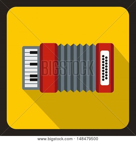Accordion icon in flat style with long shadow. Musical instrument symbol vector illustration