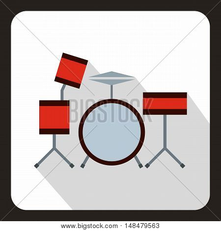 Drums icon in flat style with long shadow. Musical instrument symbol vector illustration