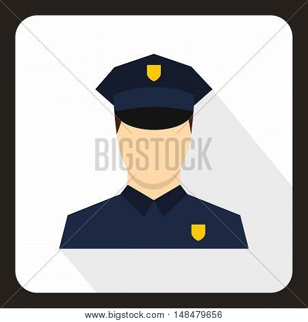 Policeman icon in flat style with long shadow. Job symbol vector illustration