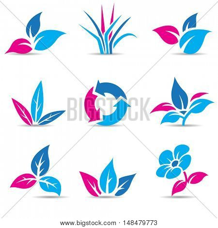Illustration of Blue and Magenta Leaves isolated on white