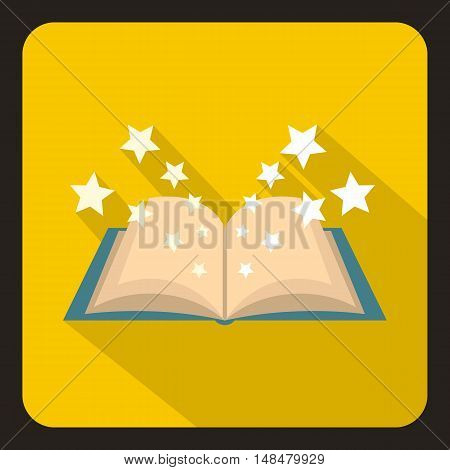 Magic book icon in flat style with long shadow. Magical symbol vector illustration