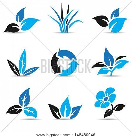 Illustration of Blue and Black Leaves isolated on white