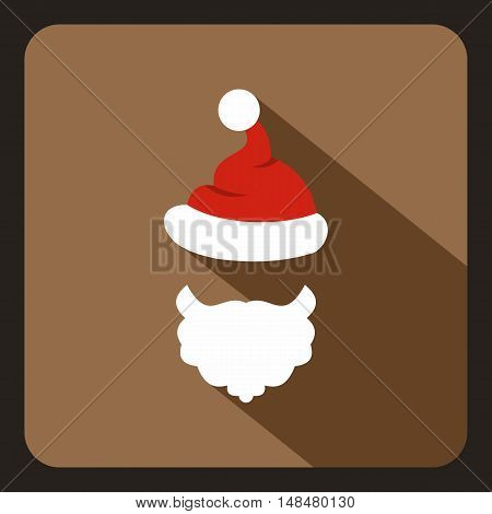 Red hat with pompom and beard of Santa Claus icon in flat style with long shadow. New year symbol vector illustration