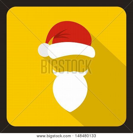 Red hat with pompom and beard with a mustache of Santa Claus icon in flat style with long shadow. New year symbol vector illustration