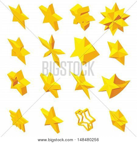 Star icons set in isometric 3d style. Yellow stars set collection vector illustration