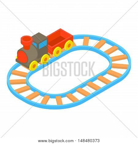 Toy train icon in cartoon style isolated on white background vector illustration