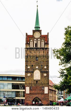 Rostock, Germany - August 22, 2016: Kroepeliner Tor - medieval city gate in Rostock. Mecklenburg-Vorpommern