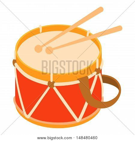 Toy drum icon in cartoon style isolated on white background vector illustration
