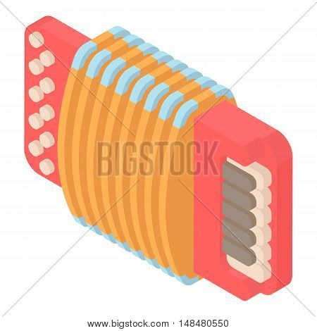 Modern accordion icon in cartoon style isolated on white background. Musical instrument symbol vector illustration