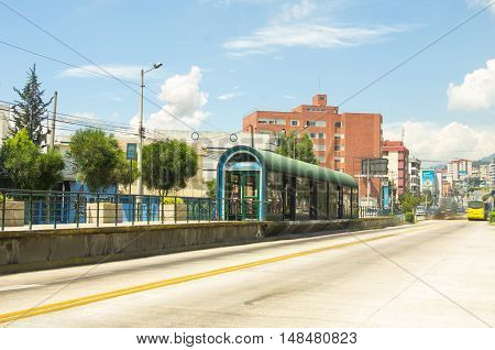 Trolley bus station La Y on a sunny day, located in Quito Ecuador.