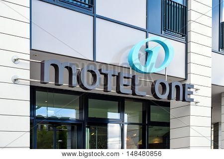 Rostock, Germany - August 22, 2016: Motel one is a Low-Budget-Hotel
