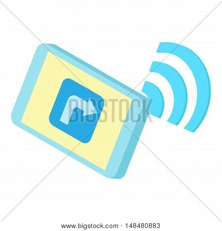 Wi Fi on phone icon in cartoon style isolated on white background. Technology symbol vector illustration