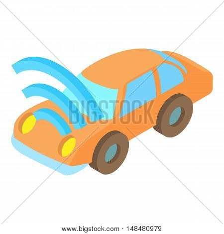 Car with Wi Fi icon in cartoon style isolated on white background. Technology symbol vector illustration