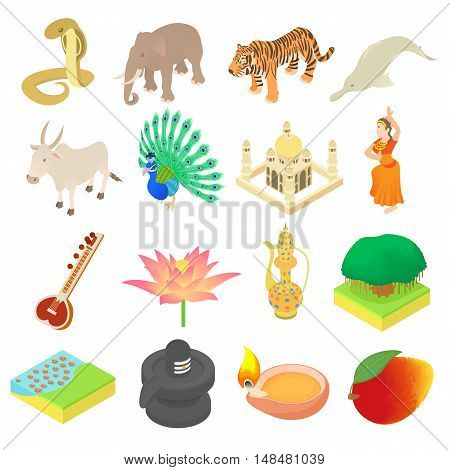 India icons set in isometric 3d style. India elements set collection vector illustration