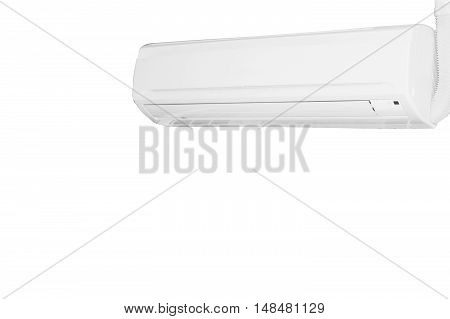 White color air conditioner machine isolated on white background with clipping path.
