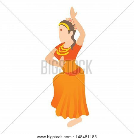 Indian girl dancing icon in cartoon style isolated on white background. Dancer symbol vector illustration