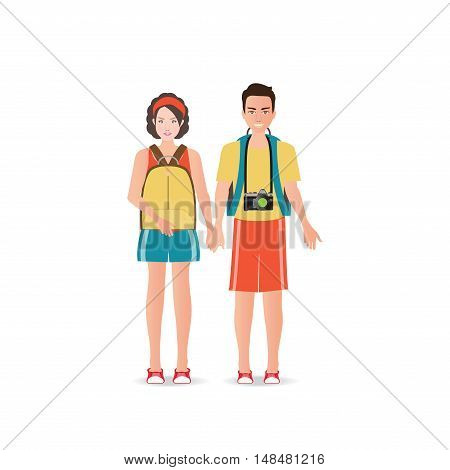 Couple travelers with luggage on white background charactor flat design vector illustration.