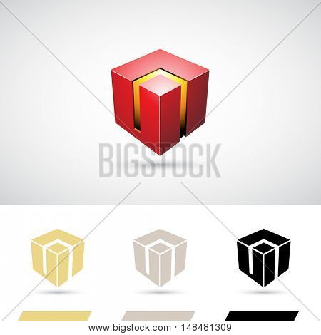 Red Shiny 3d Cube Icon Illustration
