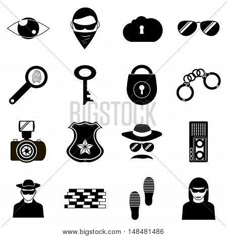 Spy icons set in simple style. Detective and security eelements set collection vector illustration