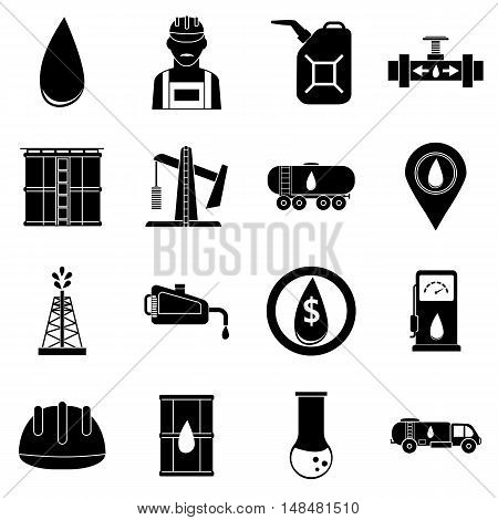 Oil industrial icons set in simple style. Energy and fuel production set collection vector illustration