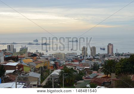 Valparaiso harbour view from the city's hills