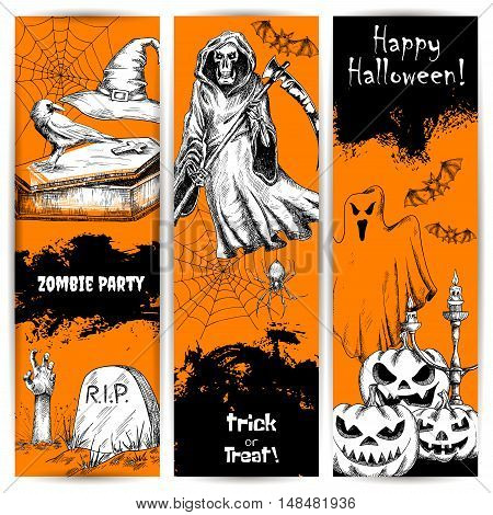Halloween Party celebration orange posters and banners. Line sketched spooky smile pumpkin, sinister death reaper, zombie hand, cemetery tomb. Horror comic retro style decoration design elements