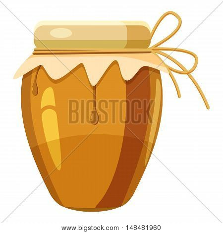 Jug with honey icon in cartoon style isolated on white background. Food symbol vector illustration