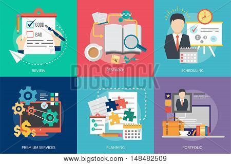 Creative Process Conceptual Design   Set of great flat icons with style long shadow icon and use for Business, Creative Idea, Concept, Marketing and much more