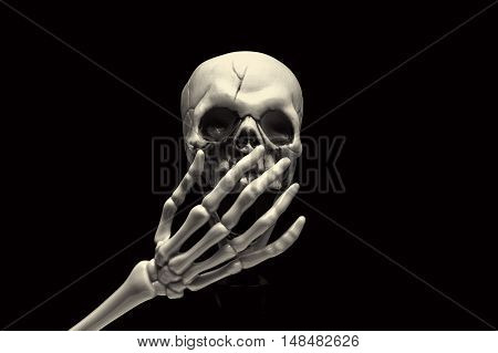 A skull with his hand on his mouth, sign of admiration