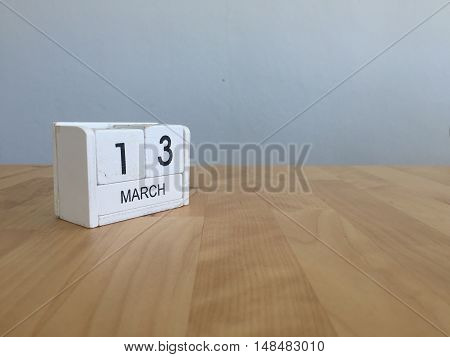 March 13Th. March 13 White Wooden Calendar On Vintage Wood Abstract Background. First Spring Day.cop