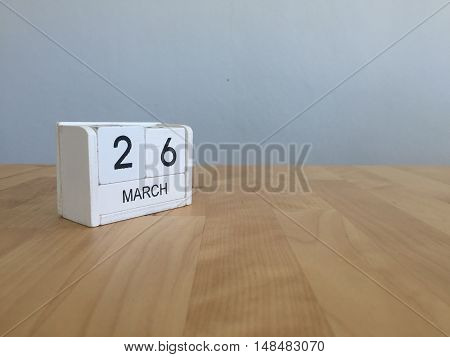 March 26Th. March 26 White Wooden Calendar On Vintage Wood Abstract Background. First Spring Day.cop
