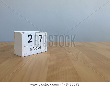 March 27Th. March 27 White Wooden Calendar On Vintage Wood Abstract Background. First Spring Day.cop