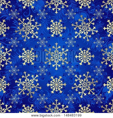 Seamless dark blue christmas pattern with vintage silvery snowflakes vector