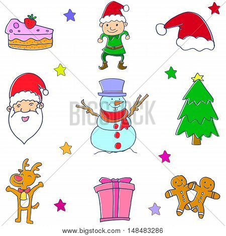 Christmas doodle set vector art collection stock