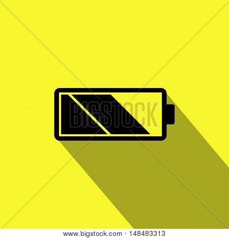 Simple Flat Battery Icon with Long Shadow