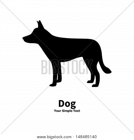 Vector illustration of black dog silhouette on isolated white background. The dog is a side view profile.