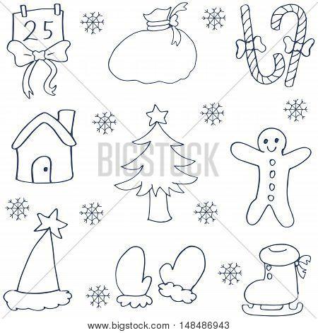 Doodle of hand draw christmas set vector art