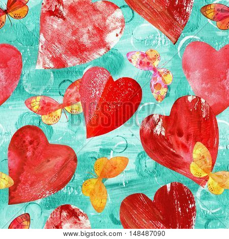 Seamless background pattern with print stamped mixed media red hearts and pink and golden watercolor butterflies, on teal