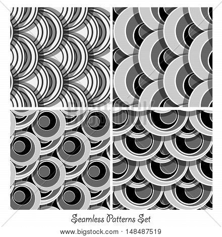 seamless vector patterns collection. Geometric round design elements. Eps10