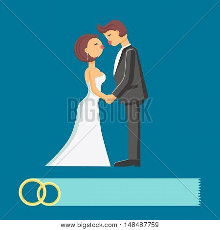 Wedding couple vector flat illustration isolated on the blue background.