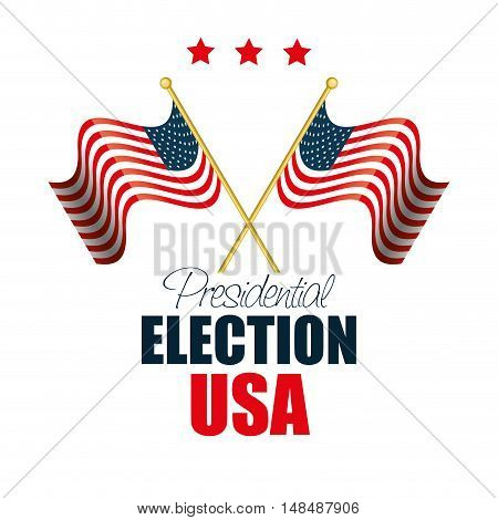 two flags waving usa election graphic vector illustration eps 10
