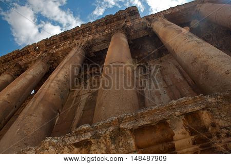 Element of Bacchus temple at the Roman ancient ruins of Baalbek, Lebanon.